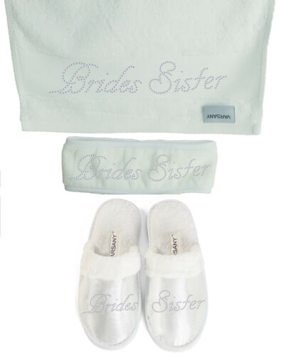 Spa Rhinestone Bridal Slippers+Hand Towel+Headband Honeymoon Hen Party gift