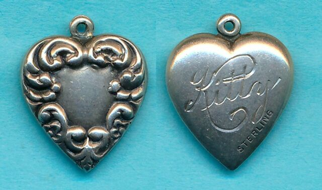 Vintage Sterling Silver Scroll Edges Design PUFFY HEART Charm Name KITTY in back