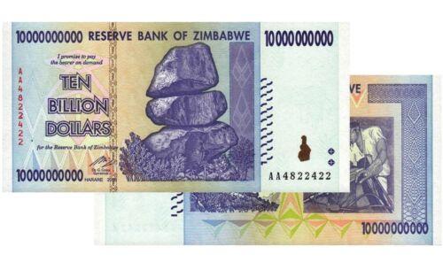 10 BILLION ZIMBABWE DOLLAR 2008,Uncirculated MONEY CURRENCY TRILLION 20 50 100