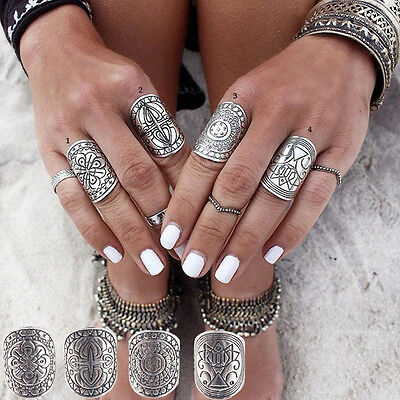 Women 4PCS Vintage Gypsy Boho Carved Totem Antique Silver Plated Midi Rings Set