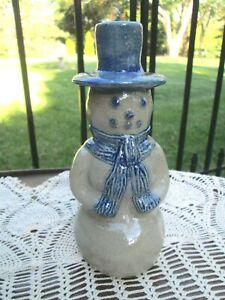 "BBP BEAUMONT BROTHERS Ohio Pottery Salt Glazed Snowman Figurine 8"" dated 1999"