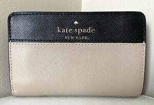 New Kate Spade Staci Colorblock Medium Compact Bifold wallet Warm Beige multi