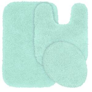 Details About New 3pc Bathroom Set 1 Bath Rug Contour Mat Toilet Lid Cover 6 Mint Green
