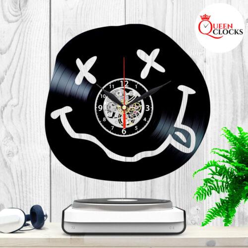 Nirvana Black Vintage Vinyl Record Wall Clock Smiley Face Gift Decor Merchandise