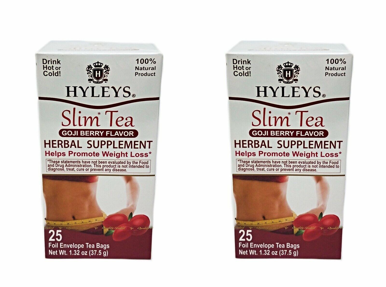 2 Pack Of Hyleys Slim Green Tea Goji Berry Flavor 25 Tea Bags
