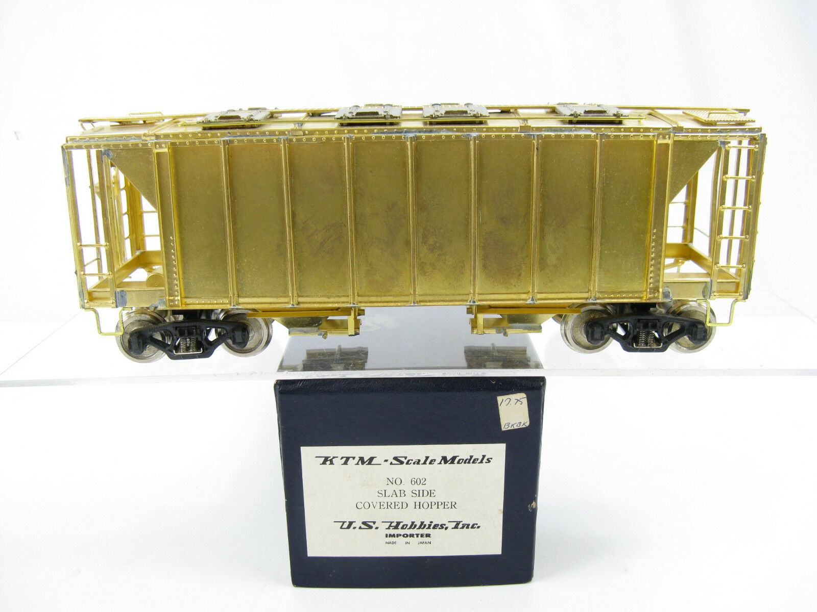 KTM US Hobbies O-Scale Brass Slab Side Coverosso Hopper Car No. 602, 2 Rail