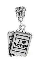I Love Movies Theater Tickets Heart Film Dangle Charm for European Bead Bracelet