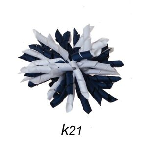 Navy//White Swirl Hair//Shoe Bow Great for our Clip On Squeaky Shoes Korker #K21