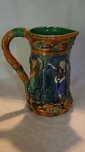 Majolica-glaze-vintage-Victorian-antique-dancer-design-ceramic-jug-pitcher