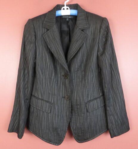 Cj0714 Lafayette 148 Ny Blazer Giacca poliestere antracite grigio Donna 10 new 89 rqHRr