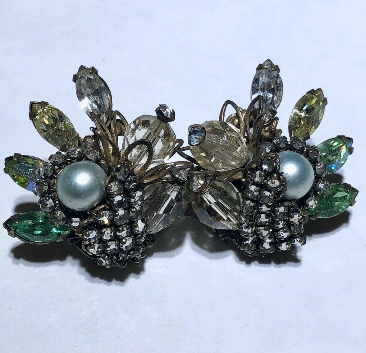 Vintage glass rhinestone crystal pearl filigree h… - image 2