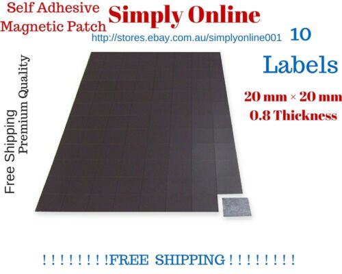 10 Pcs 0.8 mm thick Square self  Adhesive Fridge Magnets patch 20mm × 20mm