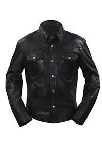 Men-039-s-M114-Black-Adjustable-Collar-Casual-Retro-Soft-Real-Leather-Shirt-Jacket