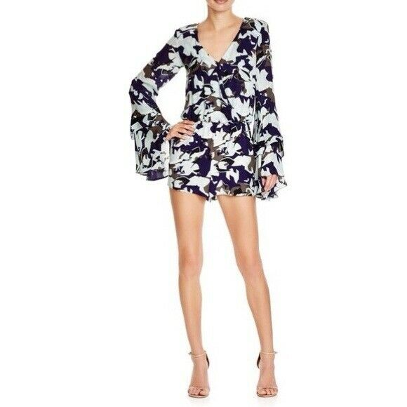 Parker Women's Black Blue Floral Villa Combo Silk Romper Bell Sleeve Small $298