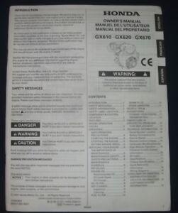 GX620 GX670 Honda Engine Owner/'s Manual GX610
