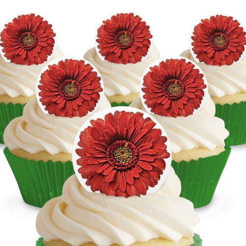 Cakeshop 12 X pré-coupé ROUGE GERBERA fleurs comestibles gâteau Toppers