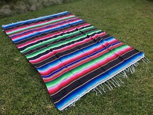 """Mexican Blanket Sarape Multi-Color Black #5 """"84x60"""" Made in Mexico"""