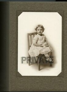 Antique Photo in Folder-Very Cute Little Girl Sitting In Wooden Chair - Colorado