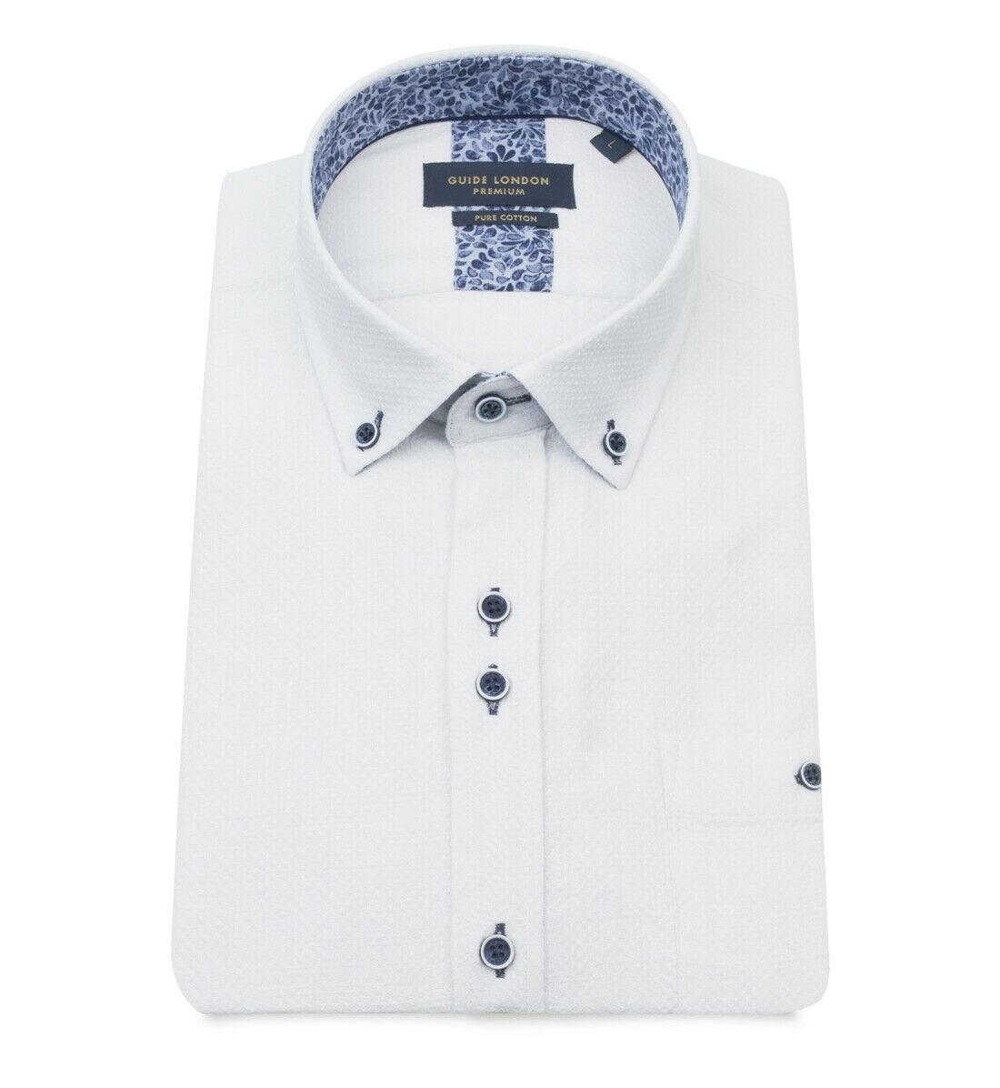 Guide London White Waffle Pure Cotton Short Sleeve Shirt - HS2356