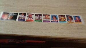 1974-75 Loblaws NHL Hockey Stamp Strip of 8 - Bob Gassoff on left