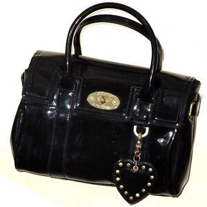 Image is loading Mulberry-for-Target-satchel-in-black-patent-Handbag- 43bd779fc5934