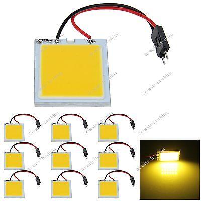 10pcs Yellow 24 Chips COB LED Festoon Dome/Door Light Panel Bulb J304