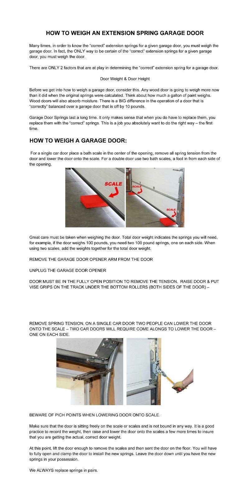 Garage Door Extension Springs For 8 Foot Tall Garage Door Ebay