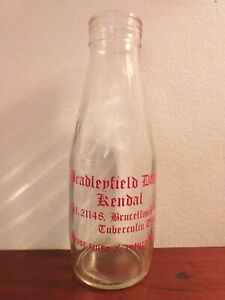 Collectable-Vintage-Pint-Glass-Milk-Bottle-Bradleyfield-Dairy-Kendal