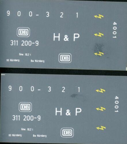 Spur 1: Beschriftung DB gelb 1 Satz Köf 311 200-9 weiß