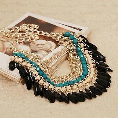 Hobo Fashion Jewelry Pendant Chain Crystal Choker Chunky Statement Bib Necklace