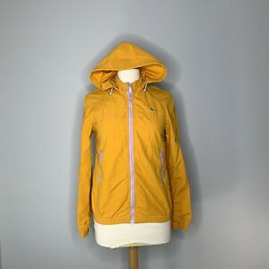 Lacoste-Windbreaker-Soft-Shell-Jacket-Womens-Size-Small-Yellow-Hooded-Zip-Up-EUC