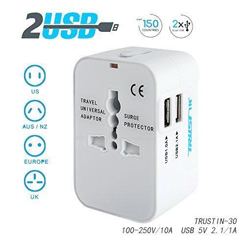 Universal Travel Adapter 2 USB Wall Charger Power Converter AC Plug US UK AU EU