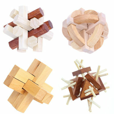Kongming Lock Kids Adult Brain Teaser Wood Intellectual Puzzle Game Creative Toy