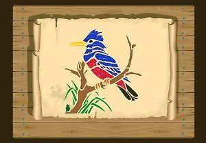 Kingfisher-Kookaburra-On-Branch-Stencil-350-micron-Mylar-not-thin-stuff-Bird044