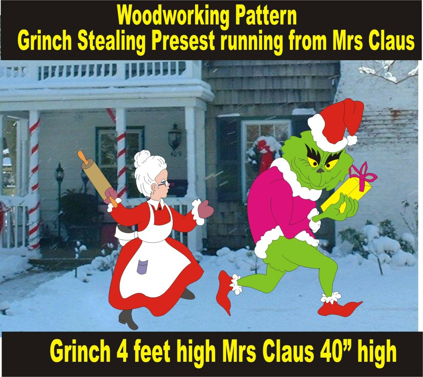 grinch stealing present running from mrs claus yard art pattern wood working