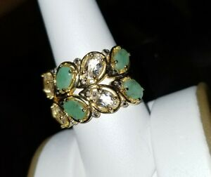Ross-Simons-18k-Yellow-Gold-vermeil-sterling-silver-Green-Emerald-wide-band-Ring