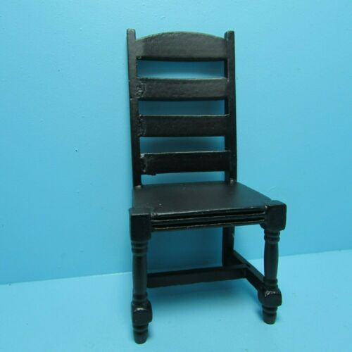 Dollhouse Miniature Wood Ladder Back Kitchen or Dining Room Chair Black CLA10999