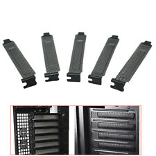 5PC PCI Bracket Slot Cover Dust Filter Black Steel Blank Blanking Plate Scr TE