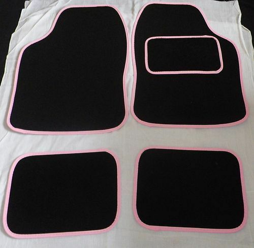 1998-2010 BLACK WITH PINK TRIM FOR PEUGEOT 206 UNIVERSAL CAR FLOOR MATS