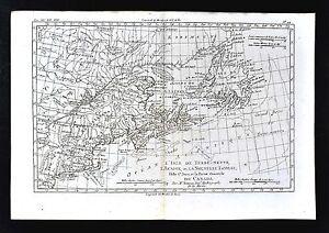 1779 Bonne Map United States Canada Nova Scotia Newfoundland New