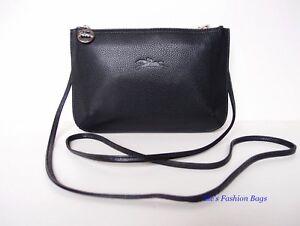 NWT-LONGCHAMP-Le-Foulonne-Leather-Double-Decker-Crossbody-Bag-BLACK-PINK-350
