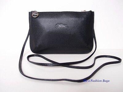 NWT LONGCHAMP Le Foulonne Leather Double Decker Crossbody Bag BLACK PINK  $350+ 671194345125 | eBay