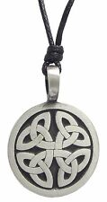 Pewter CELTIC TRINITY KNOT Pendant on Black Cord Necklace Nickel Free Triquetra
