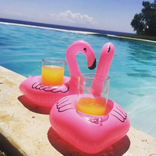 100 x Flamingo Aufblasbar Getränkehalter Schwimm Badespielzeug Flaschenhalter Kinderbadespaß