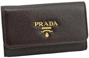 295-PRADA-en-cuir-marron-fonce-CERVO-cles-etui-Porte-Bague-nouvelle-collection