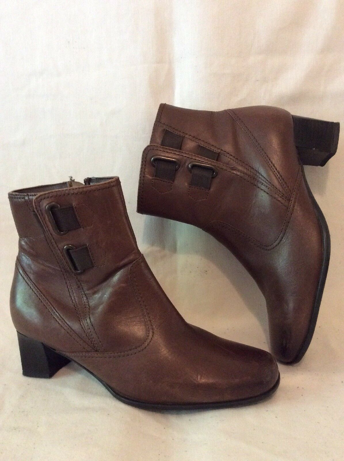 Pavers Brown Ankle Leather Boots Size 37