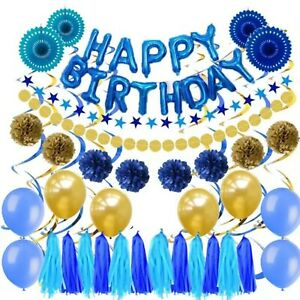 Details About Blue Gold Balloons Party Decorations Hy Birthday Table Wall Decor Partypack