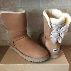 4c975611010 Details about UGG BAILEY BOW SHORT KNIT RUFFLE CHESTNUT SUEDE CLASSIC BOOTS  SIZE US 5 WOMENS