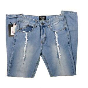 0794ef5218b6 Boohoo Mens Jeans Skinny Fit Distressed Blue Light Wash 33R NWT | eBay