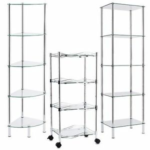 Details zu Glasregal Eckregal Regal Glas Badregal Glasablage Standregal Bad  Vitrine Rollen